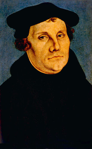 Martinho Lutero nasceu, em 1483, e deu início a um grande movimento de contestação da autoridade da Igreja sediada em Roma.