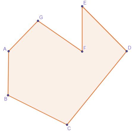 A quantidade de lados do polígono é sete, logo, o polígono é um heptágono.