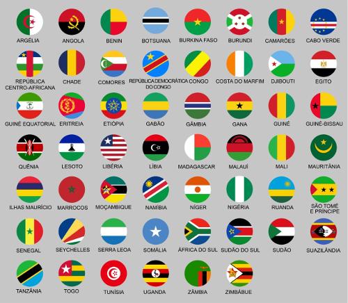 Bandeiras dos países da África.