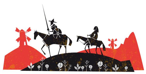 Dom Quixote e Sancho Pança são personagens literários famosos no mundo todo.