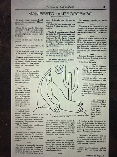 Manifesto Antropófago, de Oswald de Andrade, publicado na Revista de Antropofagia, com ilustração do Abaporu, de Tarsila do Amaral.