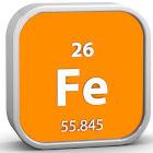 Quadrado laranja com o elemento ferro