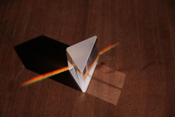 O alto índice de refração dos vidros usados nos prismas provoca a dispersão da luz.