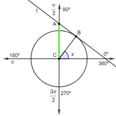 O seguimento AC é a cossecante do ângulo x.
