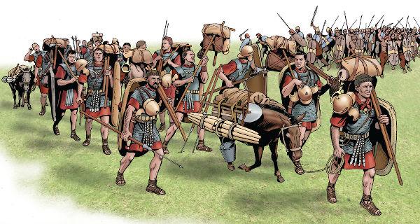 Guerreiros celtas (ao fundo) iniciando um ataque contra tropas romanas. A ferocidade do guerreiro celta foi registrada por gregos e romanos.