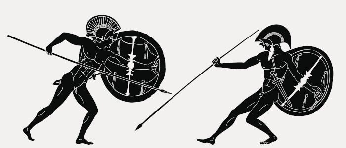 """Heitor e Aquiles, protagonistas da epopeia """"Ilíada"""", foram os grandes guerreiros da Guerra de Troia."""