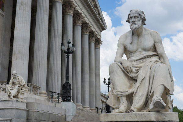 O grego Tucídides foi responsável por registrar os acontecimentos da Guerra do Peloponeso, travada em 431-404 a.C.