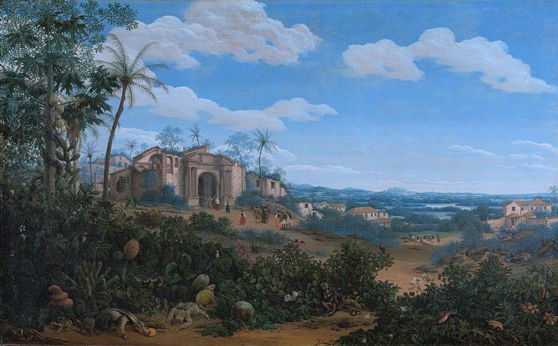 Imagem de Frans Posts retratando Olinda. Maurício de Nassau trouxe um grupo de artistas e naturalistas para estudar e desenhar o Brasil Holandês.