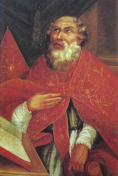 Santo Agostinho redigindo suas obras.