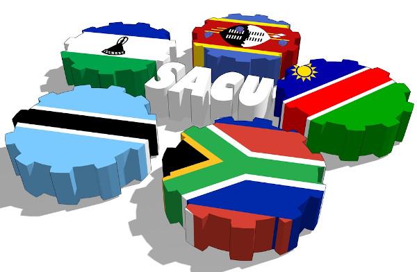 União Aduaneira da África Austral (Southern Africa Customs Union – SACU): África do Sul, Botsuana, Lesoto, Namíbia e Suazilândia.