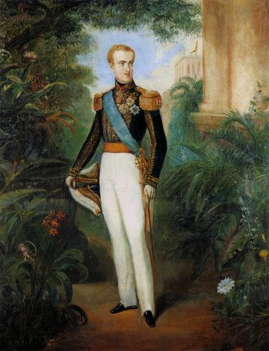 Retrato de d. Pedro II quando tinha por volta de 20 anos de idade.[1]