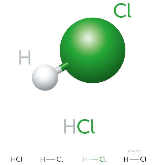 Ilustração da molécula de ácido clorídrico e sua fórmula estrutural.
