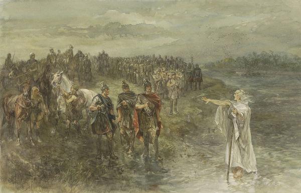 Representação de romanos dialogando com um líder germânico antes de uma batalha no século I d.C.