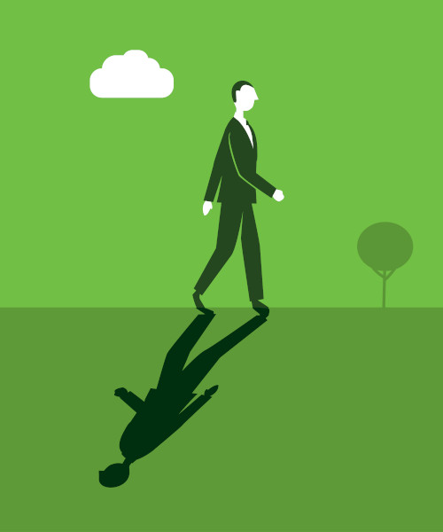 O paradoxo apresenta uma contraposição de sentidos dentro de uma mesma ideia, como na imagem, em que o homem anda para o lado oposto de sua sombra.