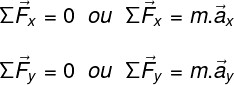 A soma das forças nas direções x e y deve ser nula ou igual à massa multiplicada pela aceleração.