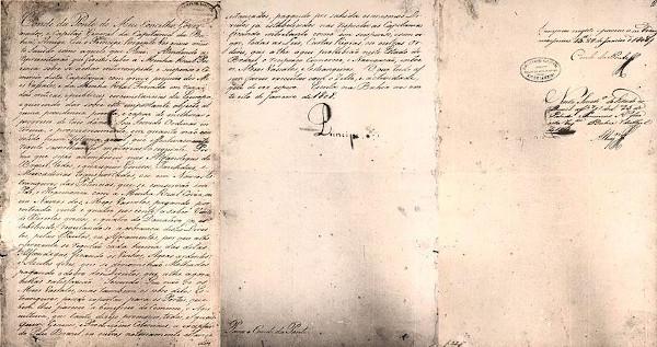 Documento que autorizava a abertura dos portos em 1808.