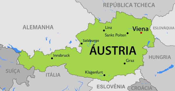 Localização da Áustria no continente europeu.