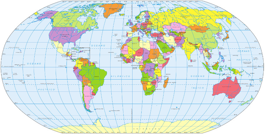 Mapa-múndi político com a identificação dos países. Fonte: IBGE.