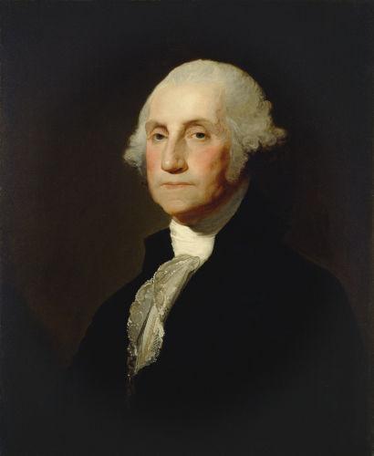 George Washington liderou tropas dos colonos na guerra pela independência e foi o primeiro presidente dos Estados Unidos.