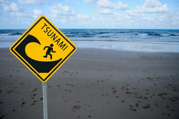 Placa alerta o risco de tsunamis, fenômeno causado principalmente por fortes tremores de terra.