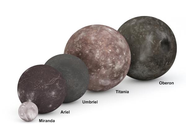 Comparação gráfica das dimensões das cinco principais luas de Urano.