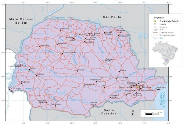 Localização do estado do Paraná.
