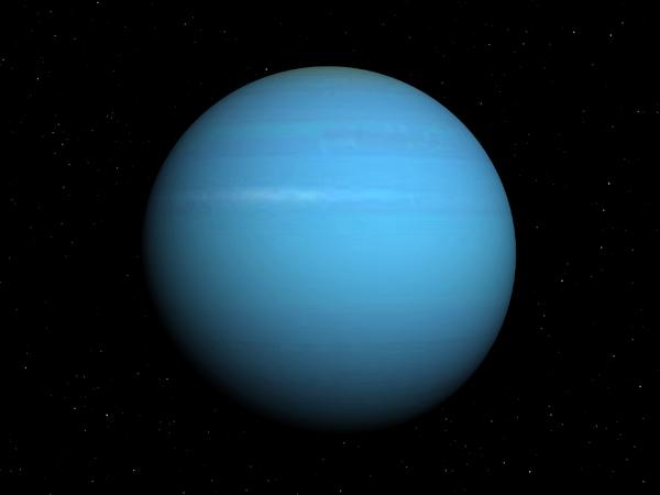 Urano é o terceiro maior planeta do Sistema Solar.