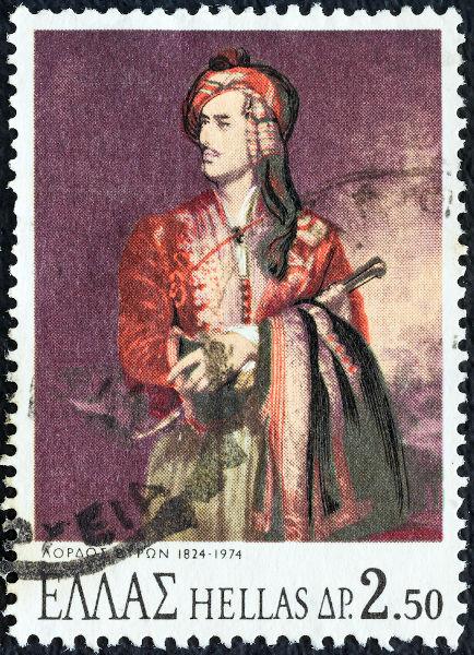 Lord Byron era tido como um herói nacional na Grécia. Na imagem, selo grego em comemoração ao seu 150º aniversário. [2]