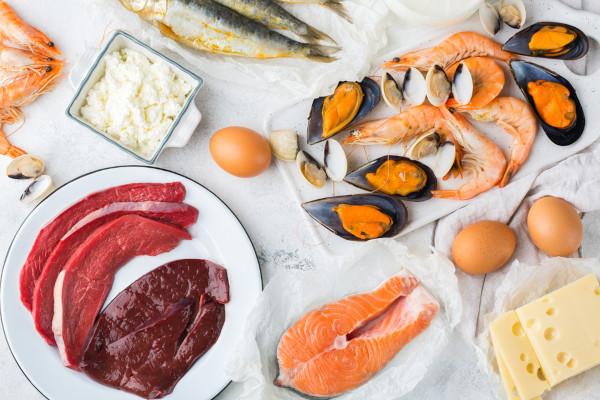 Imagem contendo alimentos crus, como carnes bovinas, salmão, mexilhões, peixes, camarões, queijo e ovos.