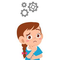 Desenho de menina raciocinando