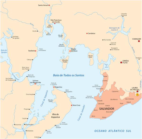 Mapa da Baía de Todos os Santos, na Bahia, com a cidade de Salvador em destaque.
