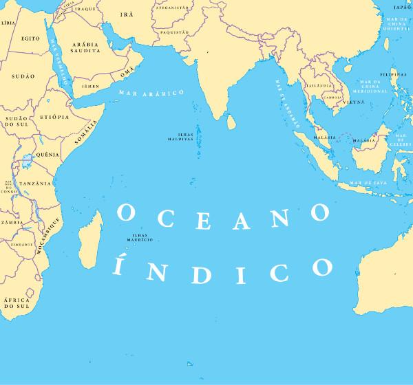 Mapa do oceano Índico.