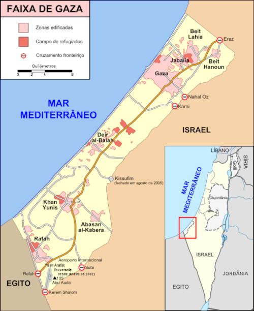 Mapa da Faixa de Gaza em detalhe e sua localização em visão mais ampla.