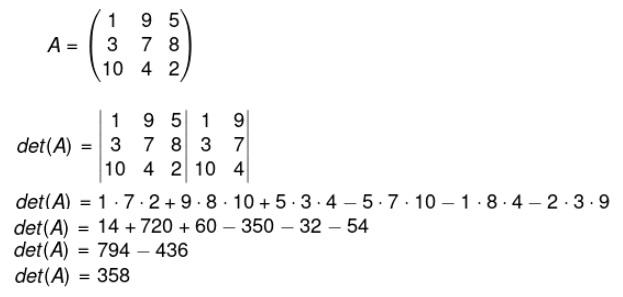 Aplicação da regra de Sarrus para descobrir o det(A).