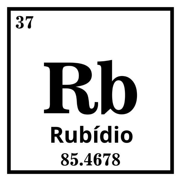 Rubídio: número atômico 37 e massa atômica aproximada de 85,5 u.