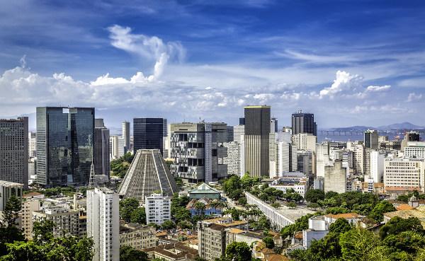 Vista do centro financeiro da cidade do Rio de Janeiro.