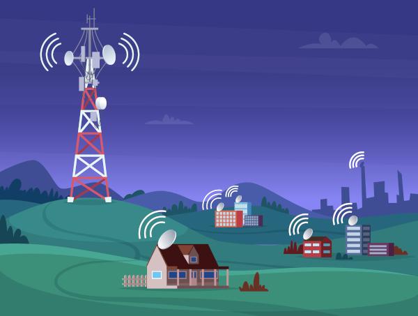 Representação de uma estação de rádio transmitindo um sinal.