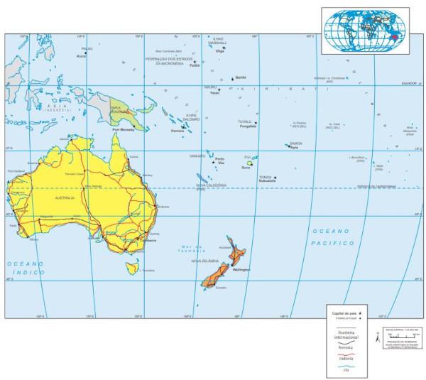 Mapa da Oceania.