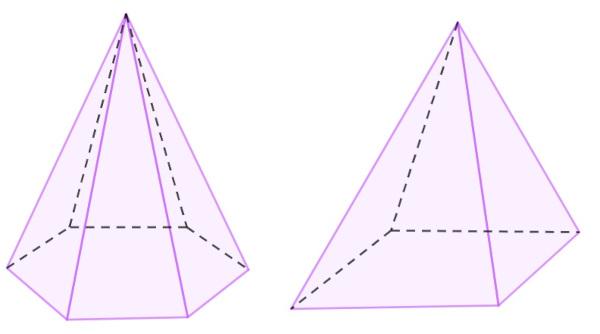 Pirâmides de base hexagonal e quadrada respectivamente.