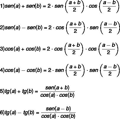 Fórmulas para transformar a soma ou a diferença entre as razões trigonométricas como um produto.