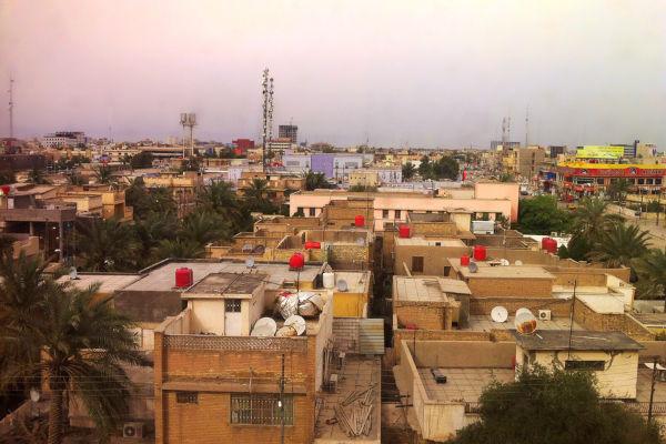Vista aérea de Basra, cidade iraquiana