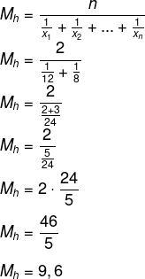 Cálculo de média harmônica dos tempos gastos pelas torneiras para encher reservatório