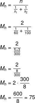 Cálculo de média harmônica das velocidades de um automóvel ao fazer certo percurso