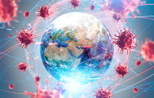 Ilustração do planeta Terra rodeado, por todos os lados, por vírus, representando o conceito de pandemia.