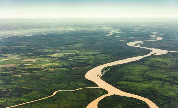 Foto aérea de uma planície