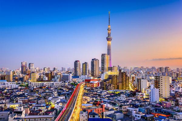 Tóquio, capital do Japão, é uma das maiores cidades do mundo.