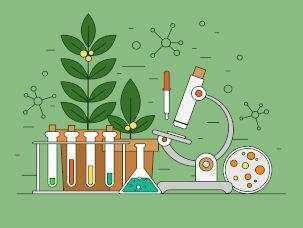 Símbolos de Biologia em fundo verde