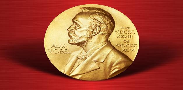 Perfil do criador do Prêmio Nobel, Alfred Nobel, em um material dourado e fundo vermelho