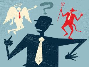 Desenho representando o dilema entre o bem e o mal