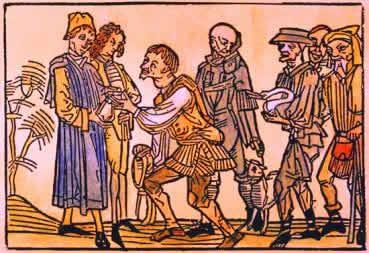 Iluminura medieval onde servos oferecem peças de um animal ao senhor feudal.
